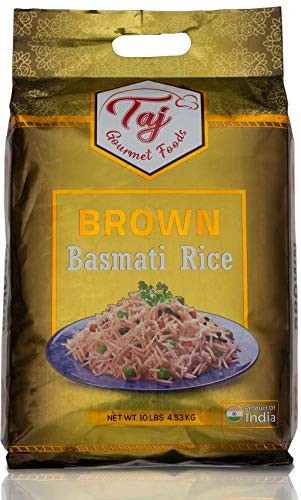 TAJ Gourmet Brown Basmati Rice, Naturally Aged, 10-Pounds