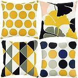 ARNTY Fundas de Cojines 45x45cm, 4 Fundas Cojines Decorativos para Sofa Terciopelo Sencillo y Decorativo Cojines Hojas para Sofá Camas Dormitorio Coche (Amarillo&Negro, Terciopelo)