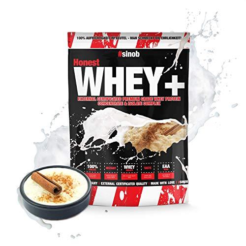 sinob Honest Whey Protein Milchreis Zimt 1 x 1000 g. 12,5% Isolate Anteil. Instant lösliches Eiweißpulver mit BCAA & EAA 'Hergestellt in Deutschland'