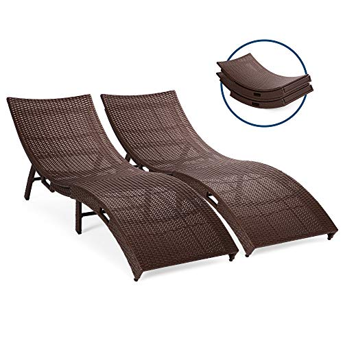 Best Choice Products Set of 2 Patio All-Weather Folding Wicker Chaise Lounge Chairs w/Handles, No Assembly Required