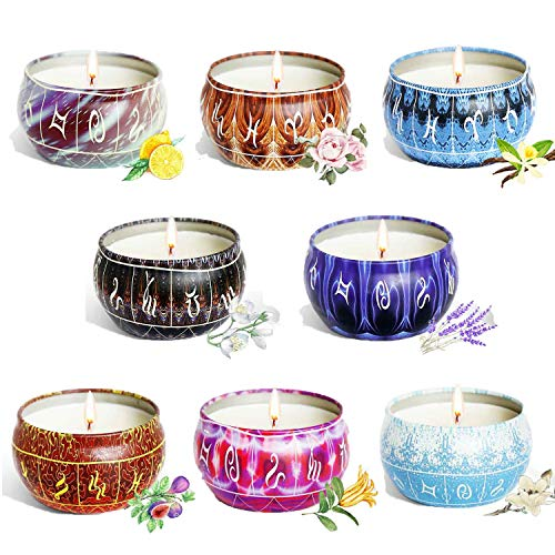 8 Pack Scented Candles Gift Set for Women, Soy Wax 2.5oz Portable Travel Tin Jar Aromatherapy Candles Set, Used for Stress Relief in Bath Yoga Sleep, Ideal for Birthday, Mother's or Valentine's Day