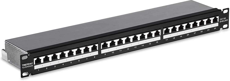 TRENDnet 24-Port Cat6A Shielded 1U Patch Panel, TC-P24C6AS, Black