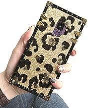 Galaxy S9 Plus S9+ Glitter Leopard Print Case,SelliPhone Luxury Designer Glitter Bling Sparkly Leopard Print Soft TPU Trunk Case for Samsung Galaxy S9 Plus (2018), Gold