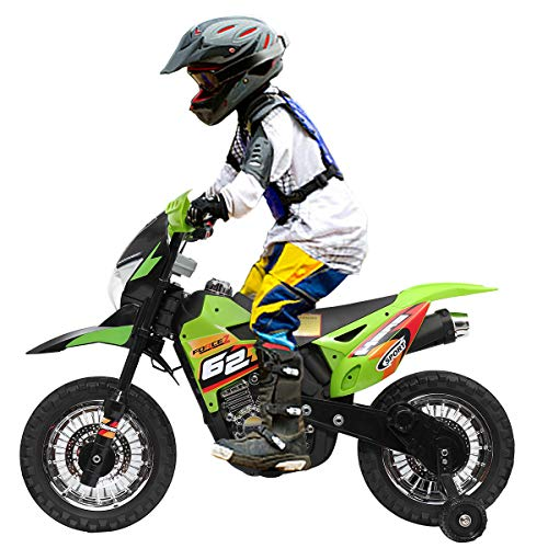 JAXPETY 6V Electric Motorcycle, Battery Powered Dirt Bikes for Kids 3-6, Ride-on Mini Motorbike with Training Wheels, Headlights & MP3, Green