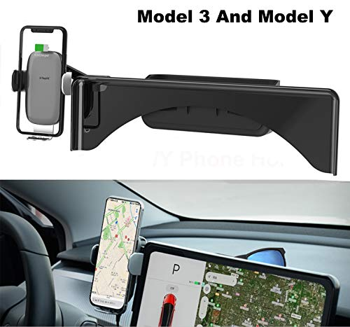 Cellphone Mount for Tesla Model 3 Model Y Monitor Fixed Clip Safety Cell Phone Holder Stand Wireless Charger Without Any Sound OEM Design