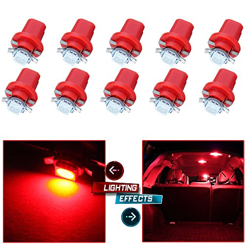 cciyu 10 PCS B8.5D 1 SMD 5050 Car Red LED Instrument Indicator Light C5W Replacement fit for Side Interior Lamp Bulb