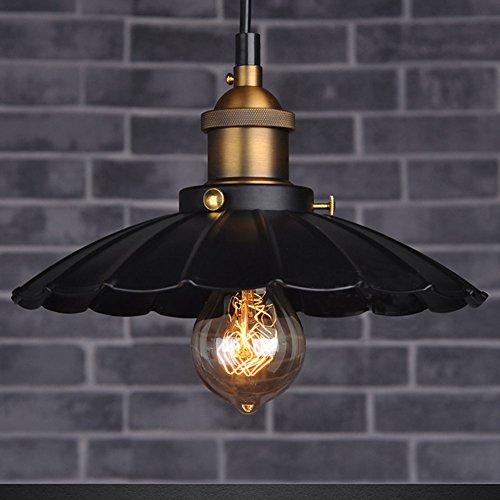 Cozyle Style industriel Loft Vintage Pendentif en métal léger parapluie noir 35cm
