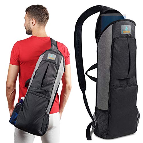 Imarana Yoga Mat Bag   Yoga Carrier Backpack with Versatile Storage Mesh and Zipper Pockets (Grey) by Imarana