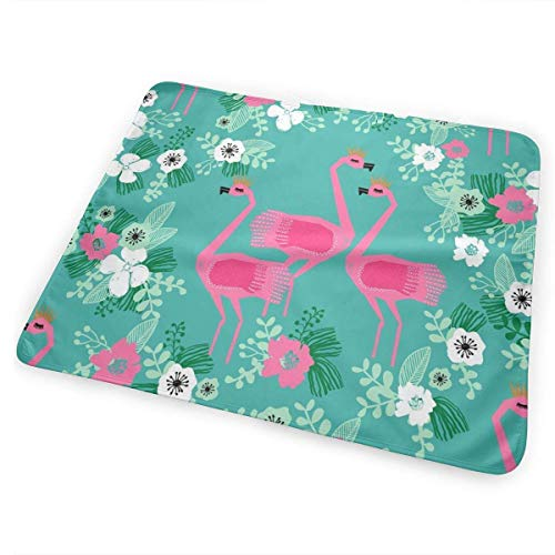 Voxpkrs Tropical Flamingo Florals Baby Crib Pee Changing Pad Mat Mattress Protector for Toddler Kids Infant Pets