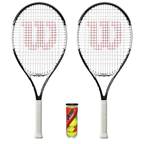 Wilson Federer Junior - Raqueta de tenis (2 unidades, 19 pulgadas, 21 pulgadas, 23 pulgadas, 25 pulgadas y 26 pulgadas) (modelo 2020, 26 pulgadas, juego de 26 pulgadas y 3 pelotas)