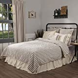 Piper Classics Market Place Ticking Stripe Quilt, Queen, 90' x 90', Grey & Cream Quilted Modern Country Farmhouse Style Bedding