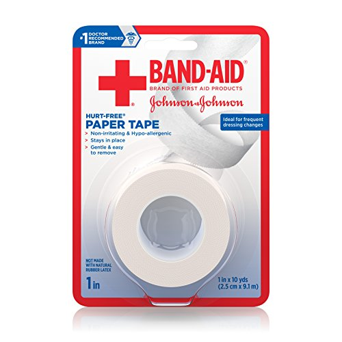 Band-Aid Brand of First Aid Products Hurt-Free Paper Tape to Secure Bandages, 1 Inch by 10 Yards (Pack of 6)