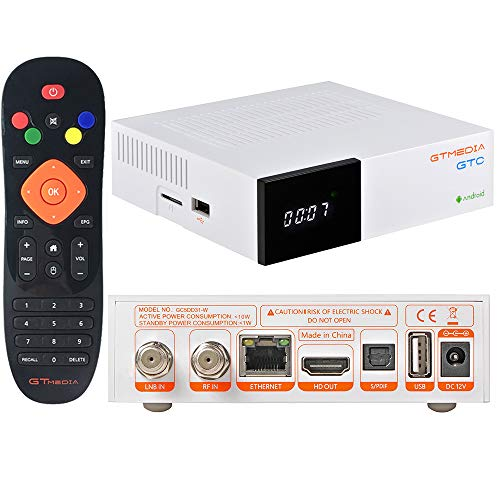 GT MEDIA GTC Sat Receiver 4K Android 6.0 TV Box DVB-S/S2 DVB-T2 Receiver Kabelreceiver TV Receiver, Amlogic S905D 2GB+16GB 3D H.265 MPEG-2/4 WiFi 2.4G Bluetooth 4.0 Smart TV Box