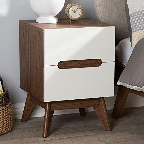 Baxton Studio 2-Drawer Storage Nightstand in White and Walnut Brown Finish