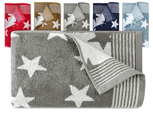 Dyckhoff Frottierserie aus dem Hause 3er-Pack Handtücher oder EIN Duschtuch - Elegantes Streifendesign kombiniert mit Sternen - geprüfte Qualität, Duschtuch [70 x 140 cm], grau