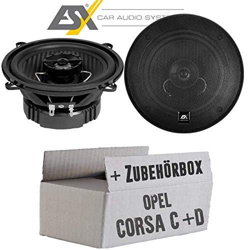 Lautsprecher Boxen ESX HZ52 Horizon - 13cm Koax Auto Einbausatz - Einbauset für Opel Corsa C + D Tür hinten - JUST SOUND best choice for caraudio