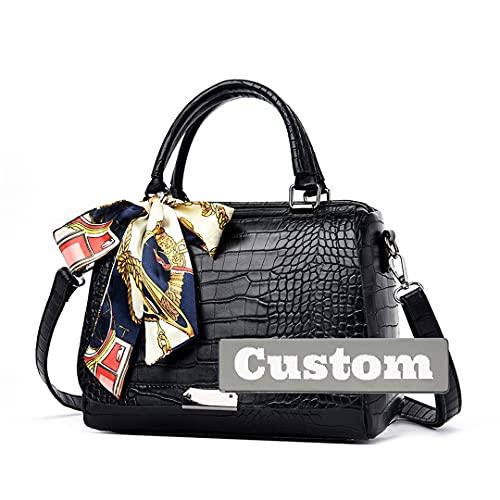 Nombre Personalizado Diseñador Bolsos de Cuero Messenger Satchel Small Trabajo Hombro para Mujeres (Color : Black, Size : One Size)
