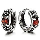 Pair Vintage Huggie Hinged Hoop Earrings with Red Cubic Zirconia, Stainless Steel, for Men Women