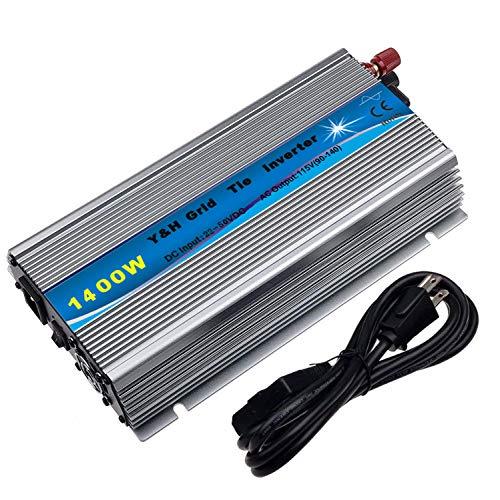 Y&H 1400W Grid Tie Inverter Stackable MPPT Pure Sine Wave DC22-50V Solar Input AC110/120V Power Output fit for 30V 36V PV Panel【Voc34-46V】
