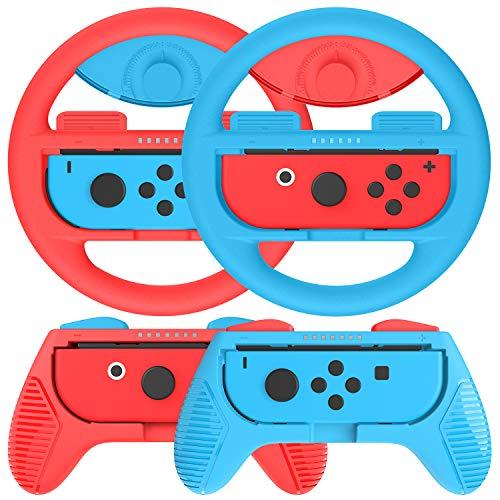 Kit de 4 Grips Para Mando Nintendo Switch Joy-Con,2 Grips y 2 Volante de nintendo switch ,Azul / Rojo