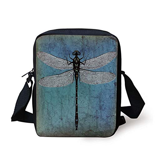 Dragonfly,Grunge Vintage Old Backdrop and Dragonfly Bug Ombre Image,Dark Blue Turquoise and Black Print Kids Crossbody Messenger Bag Purse