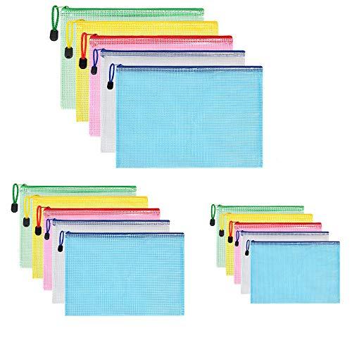Vicloon Borse di File, 5 Pezzi A5 + 5 Pezzi A4 + 5 Pezzi A3 Sacchetto di Zip Impermeabile Mesh Sacchetto del Documento per Uffici Cosmetici Forniture Accessori da Viaggio, 5 Colori (15pcs)