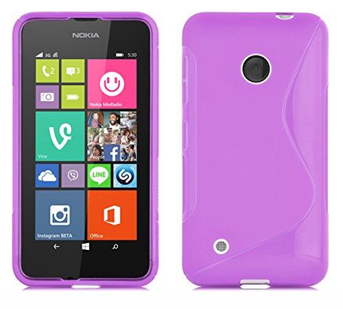 Cadorabo Hülle für Nokia Lumia 530 Hülle in Handyhülle aus flexiblem TPU Silikon im S-Line Design Silikonhülle Schutzhülle Soft Back Cover Hülle Bumper Flieder Violett
