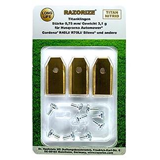 RAZORIZE®. 9x Cuchillas de repuesto de titanio (TiN) para robots cortacéspedes Gardena y Husqvarna Automower. Versión robusta con tornillos (3,1 g/0,75 mm) – 9 piezas