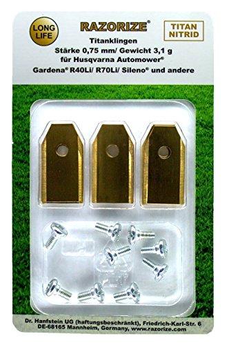 RAZORIZE® 9x Longlife Titan Ersatz-Messer Klingen Für Alle Husqvarna/Gardena/Yardforce/McCulloch Mähroboter/Automower, 3,1 g/0,75 mm, Mit Schrauben, 9 Stück