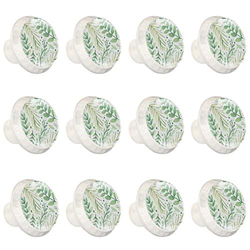 12 pomelli rotondi in vetro per cassetti e armadietti, con foglie verdi disegnate a mano, 12 pezzi