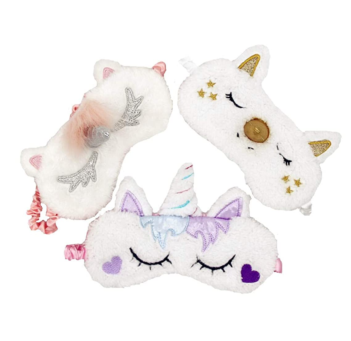 [3 PACK] MicroBird Unicorn Sleeping Mask Cute Unicorn Horn Soft Plush with silk, Blindfold Eyeshade for Kids and Women