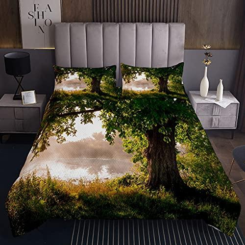 Colcha de árbol acolchada con hojas de árbol en el paisaje místico paisaje neblinoso con vista panorámica para niños, niñas, color marrón y verde