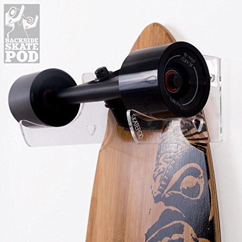 WANDKINGS Skateboard Wandhalterung - Backside Variante - Wähle eine Farbe - Transparent