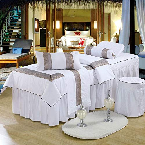 Soft Cotton Massage Table Sheet Sets, European Style Beauty Massage Bed Cover Bedspread with Face Rest Hole Massage Linens-White 80x190cm(31x75inch)