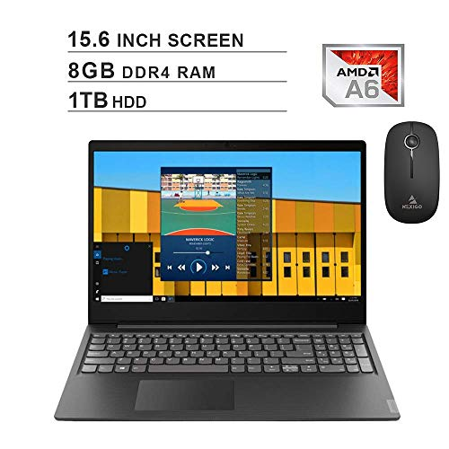 2020 Newest Lenovo Premium IdeaPad S145 15.6 Inch Laptop (AMD A6-9225 up to 3.1GHz, 8GB DDR4 RAM, 1TB HDD, AMD Radeon R4, Webcam, Windows 10 S) (Black) + NexiGo Wireless Mouse Bundle