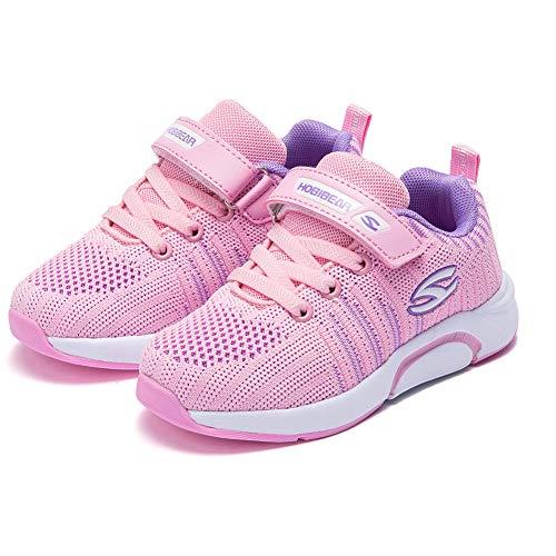WateLves Laufschuhe Kinder rutschfest Schuhe Turnschuhe Atmungsaktiv Outdoor Sportschuhe Klettverschluss für Jungen Mädchen(H-Pink,32 EU)