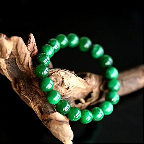 Zhiming Trocknen Sie Grüne Eisen Longsheng Runde Perlenreihe Armband Männliche und Weibliche Grüne trockenen grünen Armband Schwarz Jade Hand