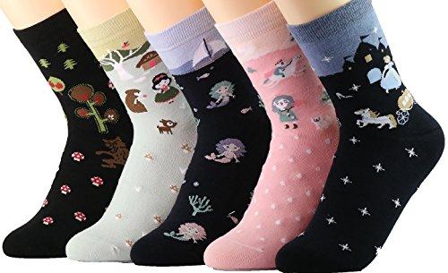 Novedad calcetines de algodón Tropa Unicornio Buho Gato Granja Princesa Sirena- Paquete de 5 Calcetines de Navidad36-40 EU, multicolor