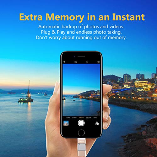 USB Flash Drives Compatible iPhone/iOS 128GB [3-in-1] Lightning OTG Jump Drive, ONTOTL USB 3.0 Thumb Drive External USB Memory Storage, Flash Memory Stick Compatible Apple, iPad, Android & PC (Gold)