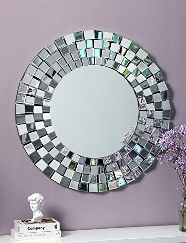 Modern Decor Wall Mirror Multi Faceted Mirrored -35.4'' x 35.4'' Decor Wall Mirror for Livingroom