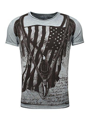 Key Largo Herren T-Shirt RACERBLADE Flaggenmotiv Printshirt Frontprint Vintage Look verwaschen Slim Fit Schnitt USA Amerika Rundhalsausschnitt blau XL