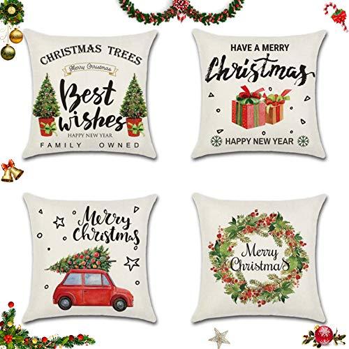 Sunshine smile 4 Stück Kissenbezug Weihnachten,Kissenbezug Frohe Weihnachten,Wohnkultur Leinen Dekokissen,Weihnachten Deko Kissenbezug,Schneeflocke Rentier&Weihnachtsmann Muster 45x45cm(E)