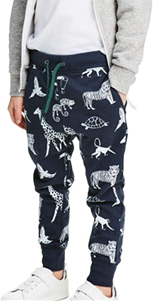 Huaer) Boys Cartoon Print Dinosaur Monkey Pattern Cotton Pants Drawstring Elastic Sweatpants (Dark Blue & Small Animals, 5T)