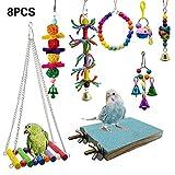 Lot de 8 jouets pour perroquet et balançoire pour perruches, aras, perroquets, oiseaux amoureux, pinsons.