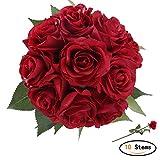 StarLifey Artificielles Roses PU Réel Tactile pour Bouquet de Mariage pour fête de Jardin à la Maison Décor Floral de 10 Pièces (Rouge)