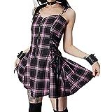 Vestido de mujer gótico a cuadros mini vestidos sin mangas vendaje cremallera punk vestido de una línea Y2K E-Girls Streetwear