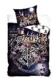 Harry Potter - Reenforzado Ropa de Cama, Ropa de Cama Reversible, Mercancía para Cama, Funda de Edredón 135x200 cm & Funda de Almohada 80x80 cm, 100% Algodón, Hogwarts