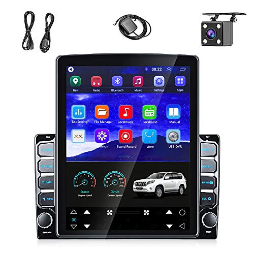 """Android Double Din Car Radio Stereo GPS 9.7"""" Vertical Touch Screen Navigation Head Unit Built-in WiFi Bluetooth FM Support DVR Backup Camera Input & Mirror Link for iOS/Android Phones +Backup Camera"""