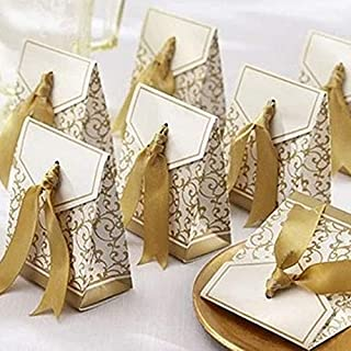 100 Pack Party Favor Boxes, Gold Decorative Boxes with Ribbons, for Small Party Gift, Chocolate, Wedding Cake Slices