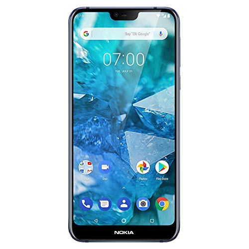 """Nokia 7.1 - Android One - 64 GB - 12+5 MP Dual Camera - Dual SIM Unlocked Smartphone (at&T/T-Mobile/MetroPCS/Cricket/H2O) - 5.84"""" FHD+ HDR Screen - Blue - U.S. Warranty"""